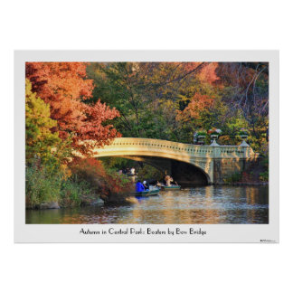 Autumn in Central Park: Boaters by Bow Bridge  01C Poster