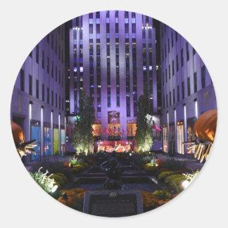 Autumn in Channel Gardens Rockefeller Center NYC Classic Round Sticker