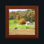 """Autumn in Lancaster County, PA Keepsake Box<br><div class=""""desc"""">A rural scene in Strasburg,  PA including an Amish school and horse and buggy with autumn colors.</div>"""