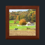 "Autumn in Lancaster County, PA Keepsake Box<br><div class=""desc"">A rural scene in Strasburg,  PA including an Amish school and horse and buggy with autumn colors.</div>"