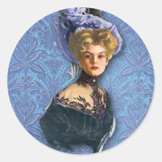 AUTUMN in PARIS 1897: ROMANTIC BLUE Classic Round Sticker