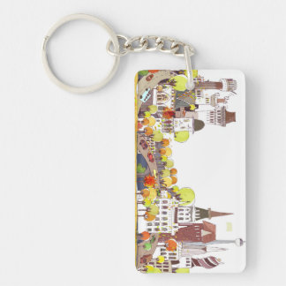 Autumn In The City Double-Sided Rectangular Acrylic Keychain