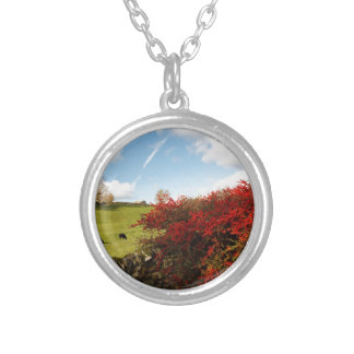 Autumn in the Country Round Pendant Necklace