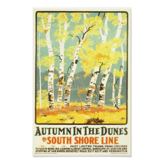 Autumn in the Dunes- South Shore Line Poster