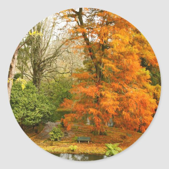 Autumn in the park classic round sticker
