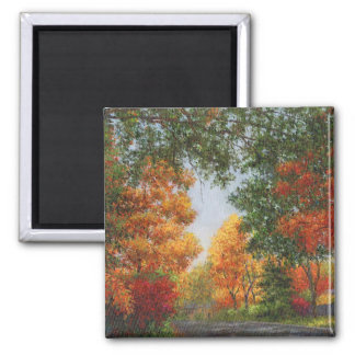 Autumn in the Suburbs 2 Inch Square Magnet