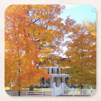 Autumn in the Suburbs Square Paper Coaster