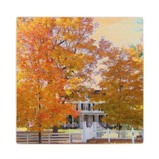 Autumn in the Suburbs Wooden Coaster