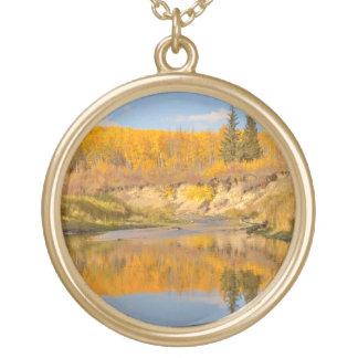 Autumn in Whitemud Ravine Round Pendant Necklace