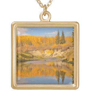 Autumn in Whitemud Ravine Square Pendant Necklace