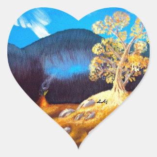 Autumn Indian Tepee Painting Heart Sticker