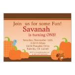 "Autumn Invitation - Cute Pumpkin 5"" X 7"" Invitation Card"