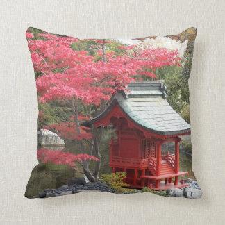 Autumn Japanese Garden Photo Square Throw Pillow