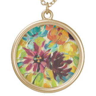 Autumn Joy Flowers Gold Plated Necklace