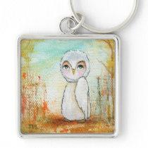 Autumn Joy Whimsical Woodland Owl Art Painting Keychain