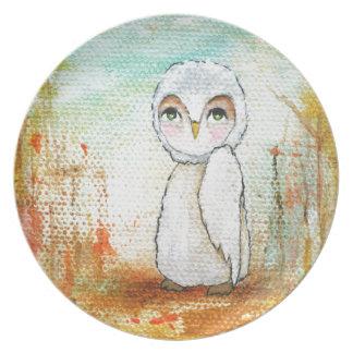 Autumn Joy Whimsical Woodland Owl Art Painting Plate