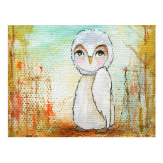 Autumn Joy Whimsical Woodland Owl Art Painting Postcard