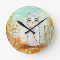 Autumn Joy Whimsical Woodland Owl Art Painting Round Clock