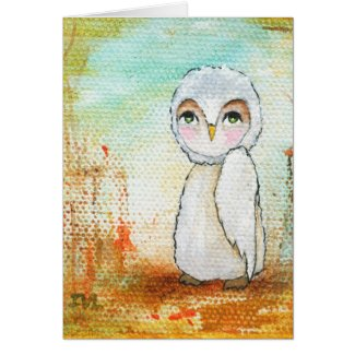 Autumn Joy, White Owl Whimsical Abstract Art Card