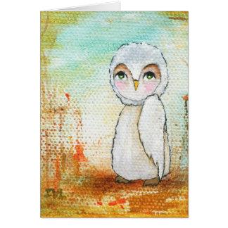 Autumn Joy, White Owl Whimsical Abstract Art Card