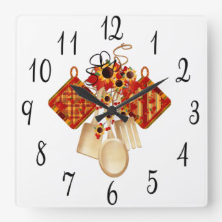 Autumn Kitchen Utensils Square Wall Clock