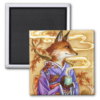 Autumn Kitsune Fox with Tea by Meredith Dillman 2 Inch Square Magnet