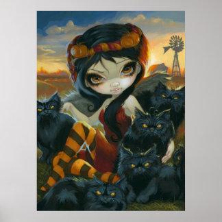 Autumn Kitties ART PRINT Halloween Fairy black cat