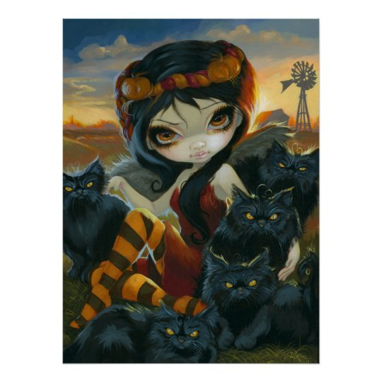 Autumn Kitties ART PRINT Halloween Fairy black cat