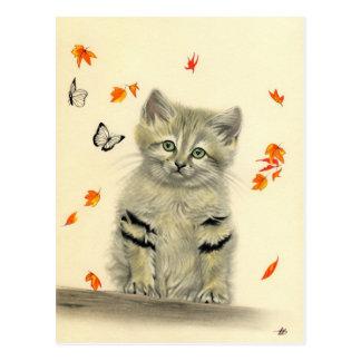 Autumn Kitty Butterflies Postcard