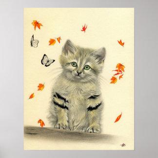 Autumn Kitty Butterflies Poster