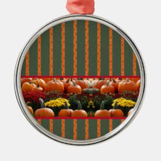 Autumn Kürbis meadow orange green strips Metal Ornament