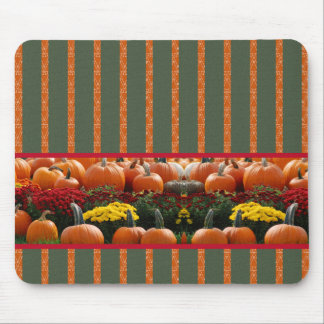 Autumn Kürbis meadow orange green strips Mouse Pad