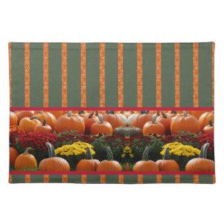 Autumn Kürbis meadow orange green strips Placemat