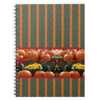 Autumn Kürbis meadow orange green strips Spiral Notebook
