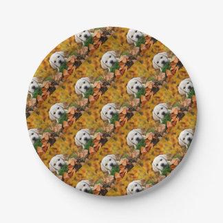 Autumn Labrador Paper Plate