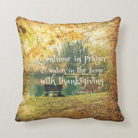 Autumn Lake Bench with Prayer Bible Verse Throw Pillow