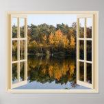 Autumn Lake Fall Trees Window View Poster