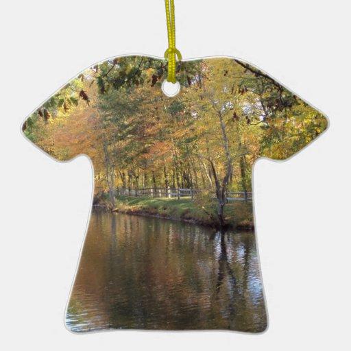 Autumn Lake Double-Sided T-Shirt Ceramic Christmas Ornament