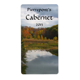 Autumn Lake Reflections Wine Label