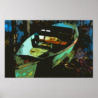 Autumn Lake Rowboat Poster