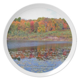 Autumn Lake Scene Melamine Plate