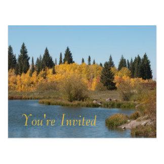 Autumn Lake Thanksgiving Dinner Invitation Postcard