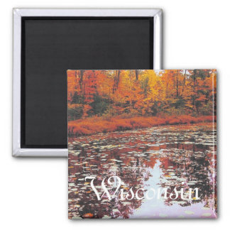 Autumn Lake View, Wisconsin 2 Inch Square Magnet
