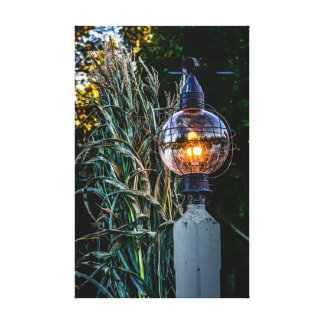 Autumn Lampost Aglow Stretched Canvas Print