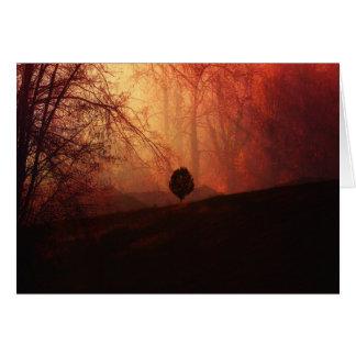 Autumn Landscape Art, Tree on Hill Orange Brown Card