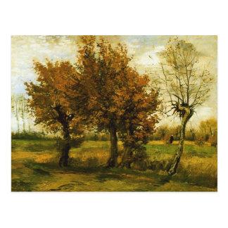 Autumn Landscape Four Trees Van Gogh Fine Art Postcard