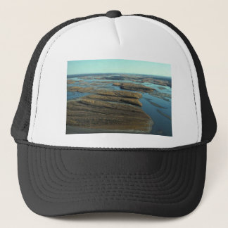 AUTUMN LANDSCAPE IN SWAMP WITH TREES IN FALL COLOR TRUCKER HAT