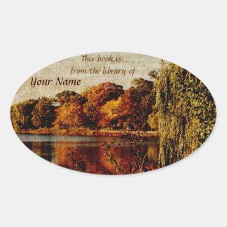 Autumn landscape library sticker plate