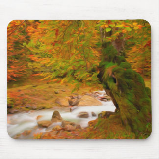 Autumn landscape of the river and the trees mousepads