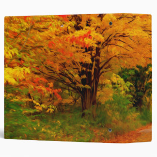 Autumn landscape of trees in rural areas binder